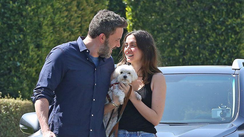 Ben Affleck mit seiner Freundin Ana de Armas und den Hunden im April 2020