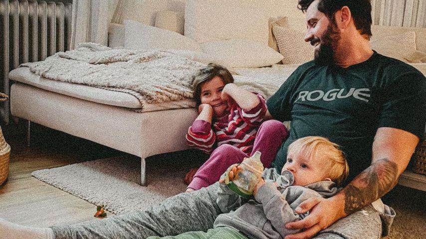 Ben Kauer und seine Kinder Sophie und Noah