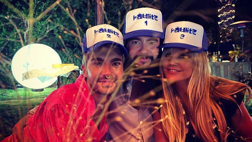 Bill und Tom Kaulitz sowie Heidi Klum auf der Geburtstagsfeier der Zwillinge im Jahr 2020