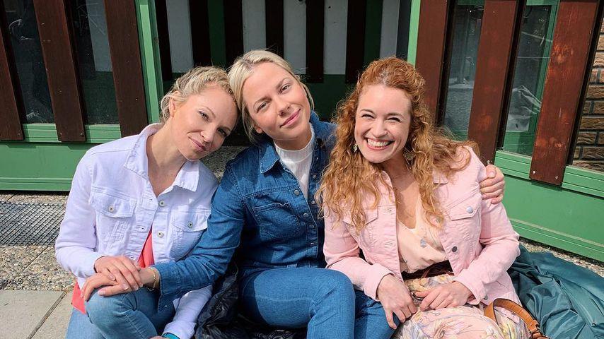 """Birte Glang, Cheyenne Pahde und Madeleine Krakor am Set von """"Alles was zählt"""""""