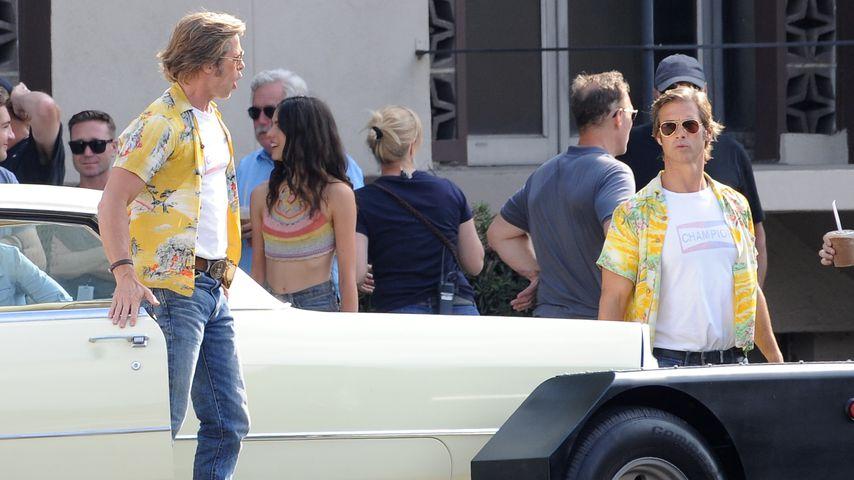 Brad Pitt (l.) und sein Stunt-Double