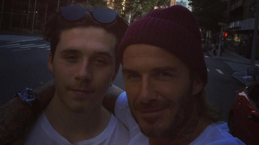 Brooklyn und David Beckham in New York