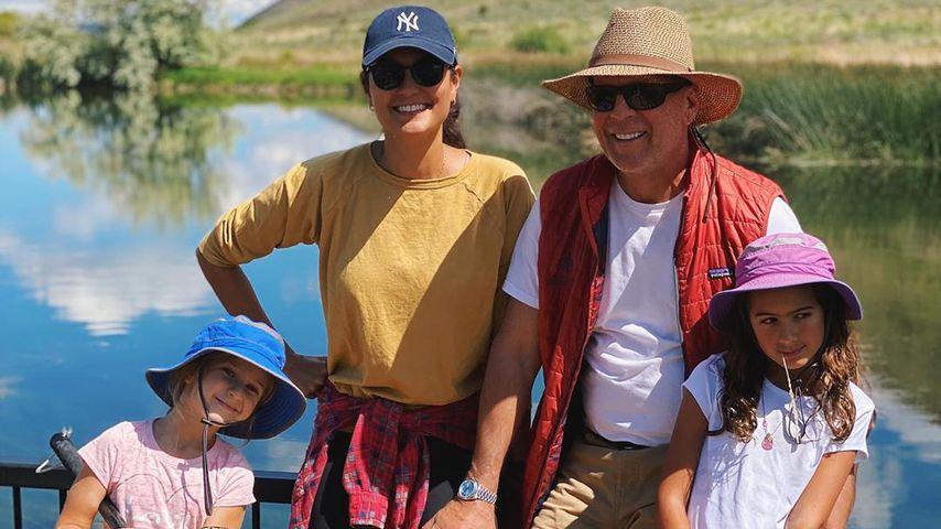 Bruce Willis mit seiner Frau Emma und den beiden Töchtern, Juni 2020