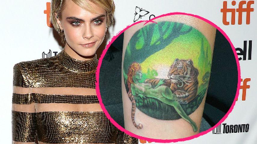 """""""Grässlich"""": Das sagen Fans zu Cara Delevingnes Tiger-Tattoo"""