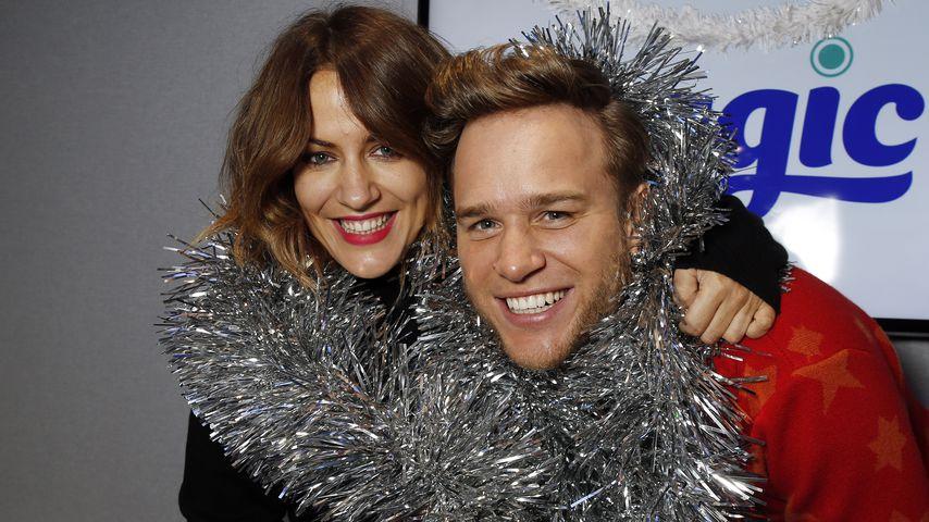 Caroline Flack und Olly Murs in den Magic Radio Studios in London, 2014