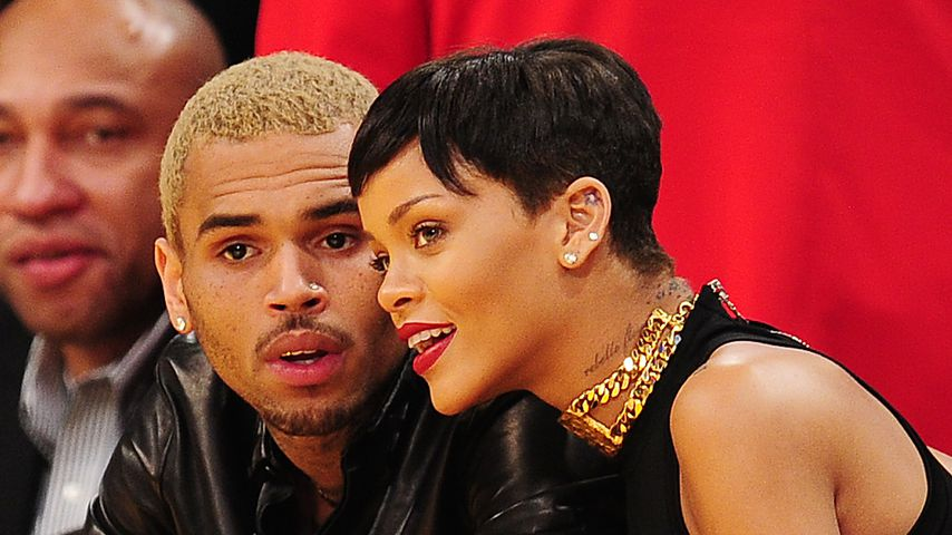 Chris Brown und Rihanna beim Basketball 2012