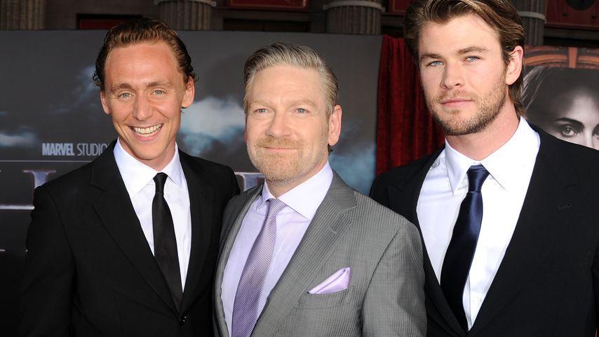 Tom Hiddleston, Regisseur Kenneth Branagh und Chris Hemsworth (v.l.n.r.)