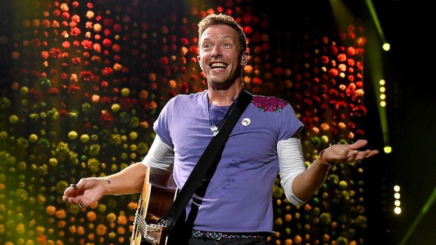 Chris Martin bei einem Coldplay-Auftritt in Pasadena, Kalifornien