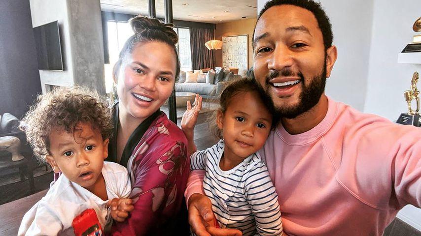 Chrissy Teigen und John Legend mit ihren Kindern Miles und Luna