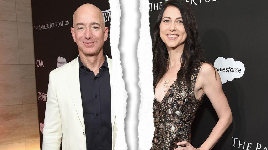Collage: Jeff Bezos und Ex-Frau MacKenzie Bezos auf einer Gala in L.A. im Januar 2018