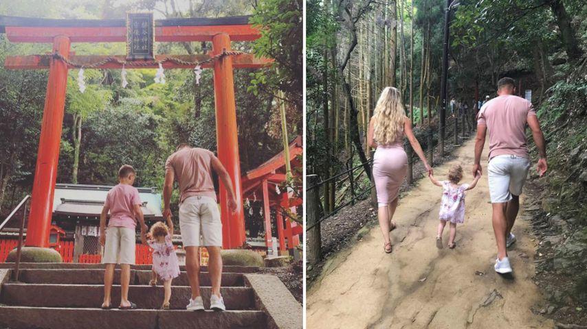 Lukas Podolski mit seiner Frau Monika und ihren Kindern Louis und Maya, Japan 2017