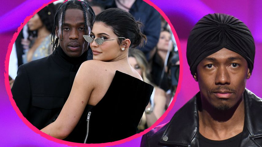 Collage: Travis Scott mit Kylie Jenner und Nick Cannon