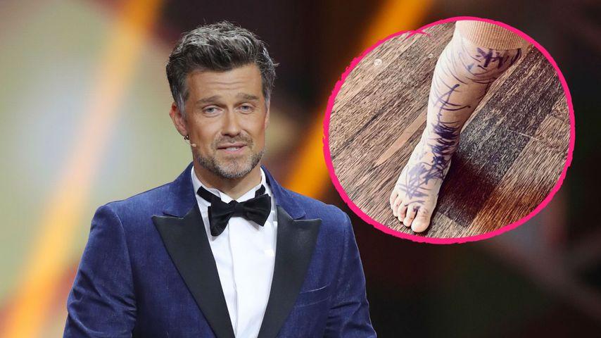 Nicht erfreut: Wayne Carpendales Sohn (2) mit Fake-Tattoos