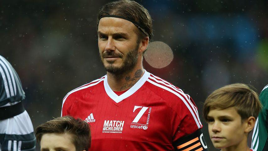 David Beckham mit seinen Kindern Cruz, Harper und Romeo