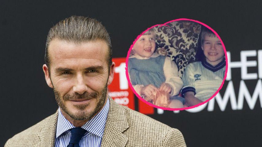 Süß! David Beckham postet Kinder-Pic mit seiner Schwester