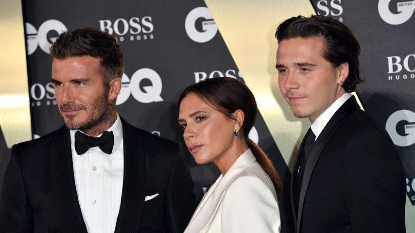 David, Victoria und Brooklyn Beckham