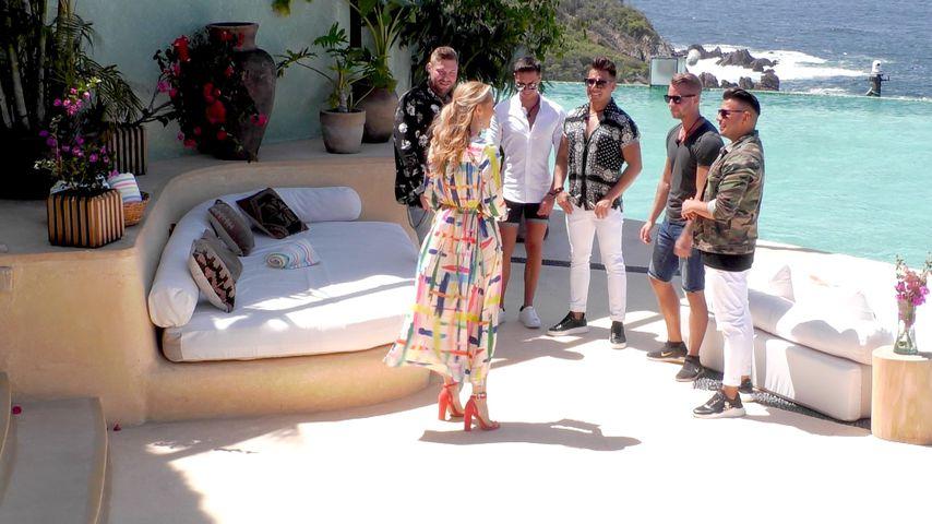 """Die Jungs von der zweiten Staffel """"Paradise Hotel"""" mit Angela Finger-Erben"""