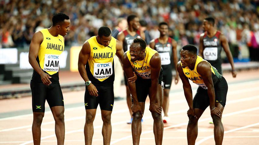 Die jamaikanische Männer-Staffel im Finale über 4x100 Meter bei der Leichtathletik-WM in London