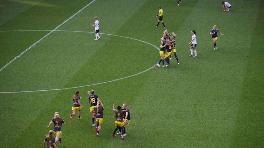 Die schwedischen Nationalspielerinnen nach dem Viertelfinal-Sieg gegen Deutschland