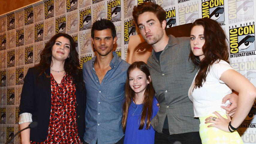 Kristen Stewart, Robert Pattinson, Taylor Lautner, Stephenie Meyer und Mackenzie Foy