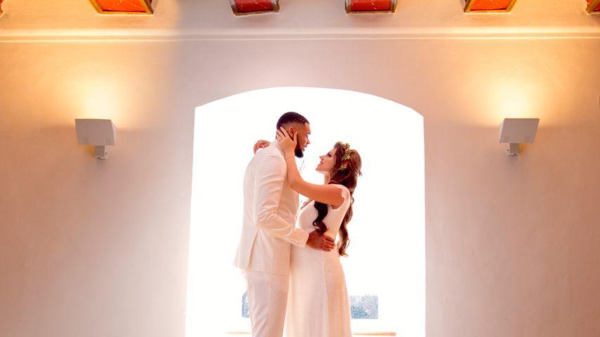 Dominic und Sarah Harrison an ihrem Hochzeitstag