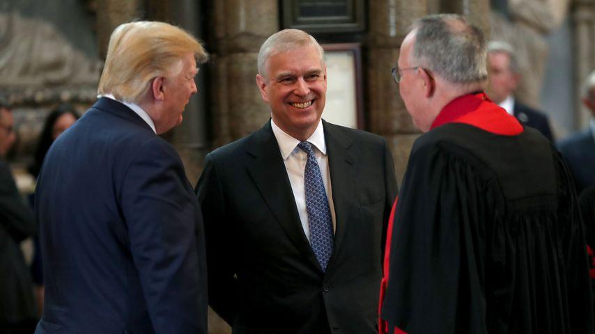 Donald Trump, Prinz Andrew und John Hall, der Dekan von Westminster im Juni 2019