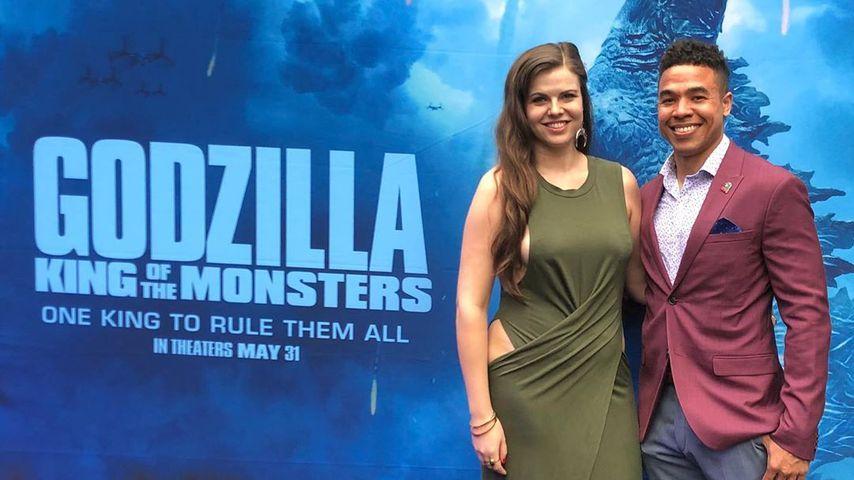 """Edward Aschoff und seine Verlobte Katy bei der """"Godzilla""""-Premiere"""