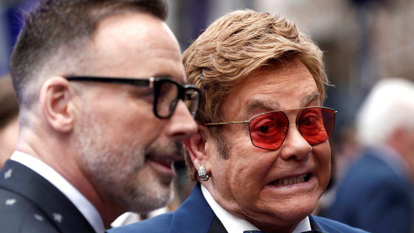 Elton John mit seinem Ehemann David Furnish 2019