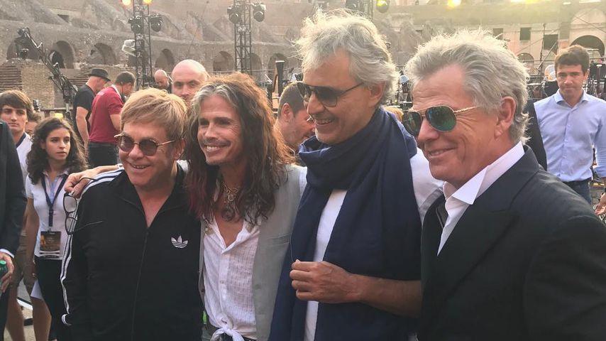 Elton John, Steven Tyler, Andrea Bocelli und David Foster in Rom, 2017