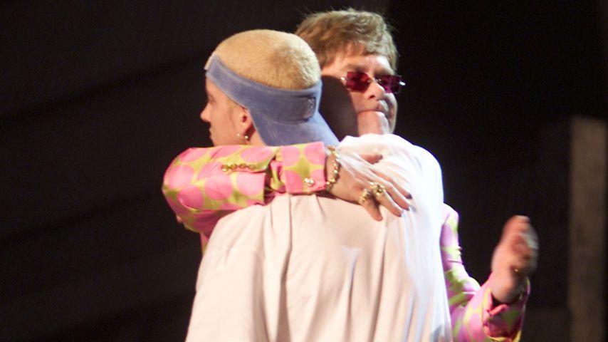 """Elton John und Eminem, Verleihung der """"Grammys"""", Los Angeles 2001"""