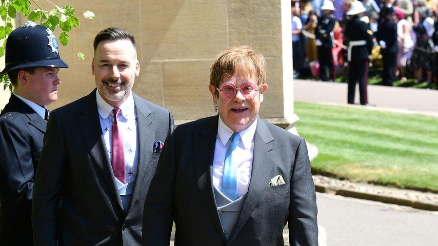 David Furnish und Elton John bei der Hochzeit von Prinz Harry und Herzogin Meghan
