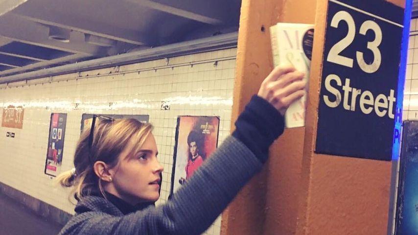 Buch-Fee Emma Watson versteckt Lesestoff im Untergrund