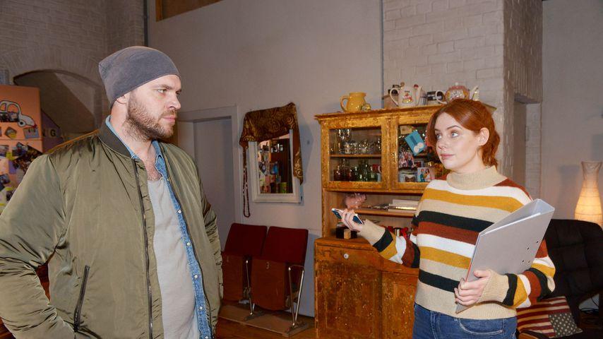 """Erik (Patrick Heinrich) und Toni (Olivia Marei) bei """"Gute Zeiten, schlechte Zeiten"""""""