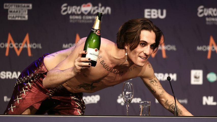 ESC-Gewinner Damiano David bei einer Pressekonferenz