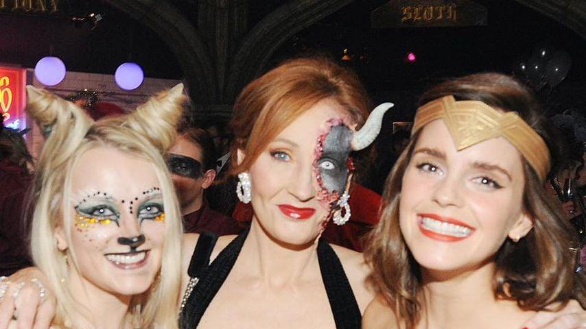 Evanna Lynch, J.K. Rowling und Emma Watson