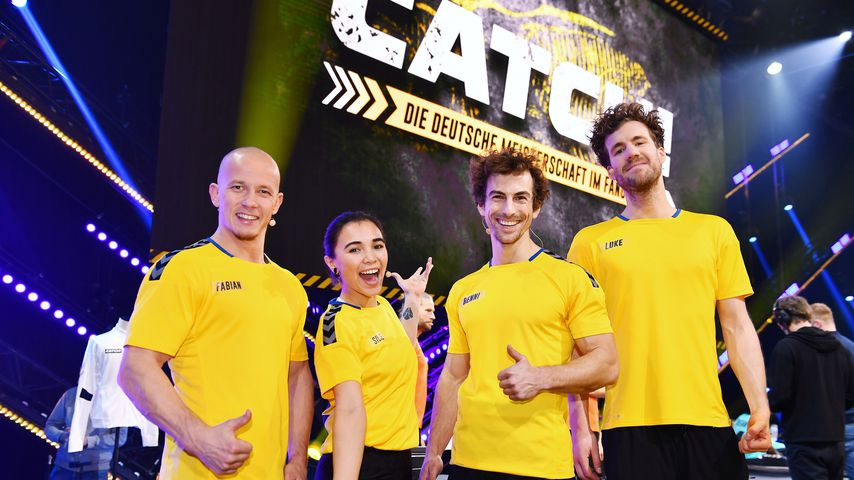 "Fabian Hambüchen; Silke Sollfrank; Benni Grams; Luke Mockridge bei ""CATCH!"""