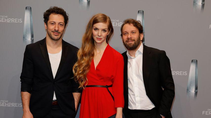 Fahri Yardim, Pheline Roggan und Christian Ulmen beim Deutschen Fernsehpreis 2018