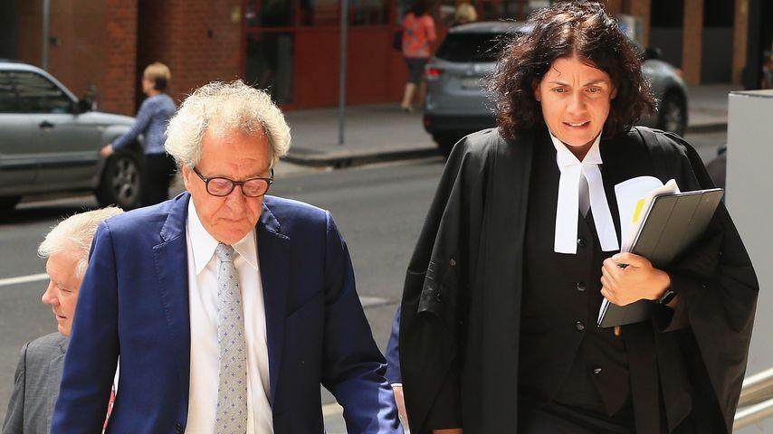 Geoffrey Rush mit seiner Anwältin in Sydney