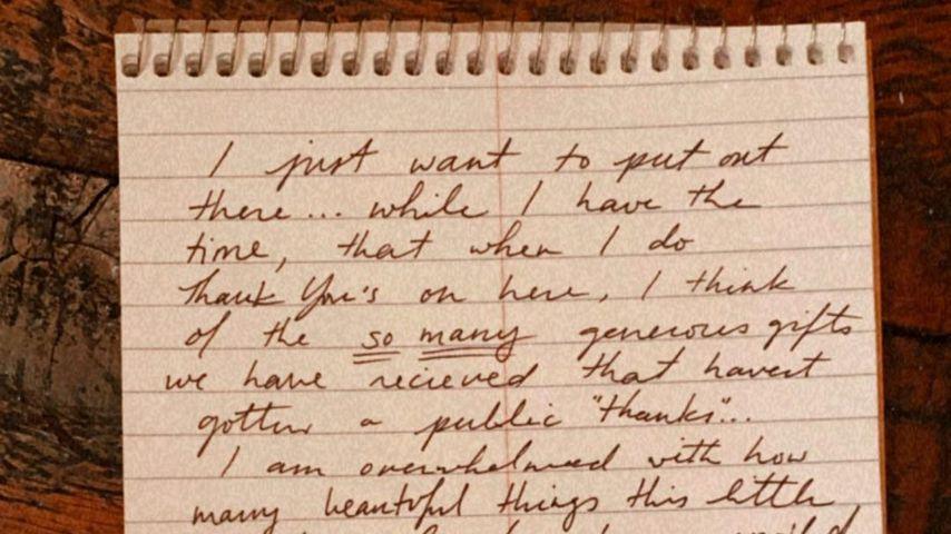 Gigi Hadids handgeschriebener Zettel an ihre Fans