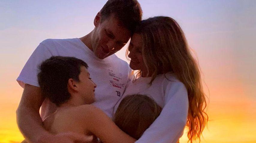 Gisele Bündchen mit ihrem Mann Tom Brady und ihren Kindern