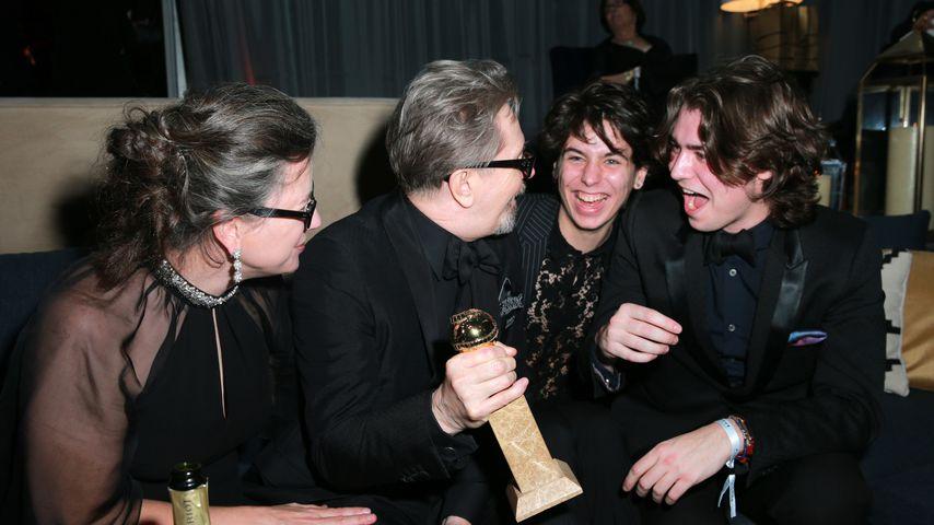 Gisele Schmidt, Gary Oldman, Charlie Oldman und Gulliver Oldman bei der Golden Globe Aftershowparty