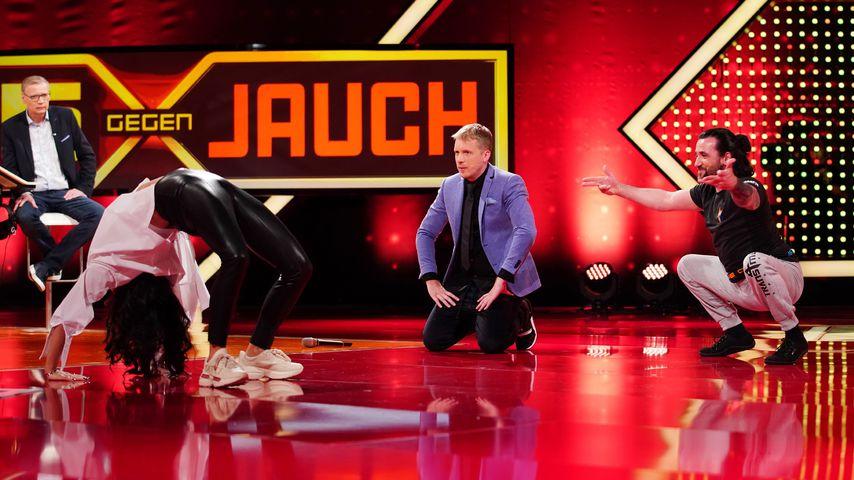 """Günther Jauch, Amira und Oliver Pocher und Thomas Starke bei """"5 gegen Jauch"""""""