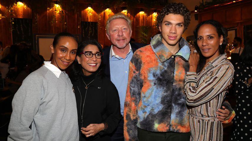 Hadnet Tesfai, Nawal El Moutawakel, Boris, Elias und Barbara Becker im Februar 2020 in Berlin