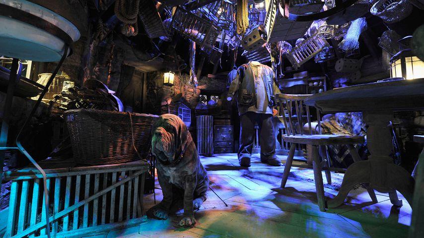 Hagrids Hütte aus Harry Potter bei der Warner Brothers Studio Tour in Watford, England