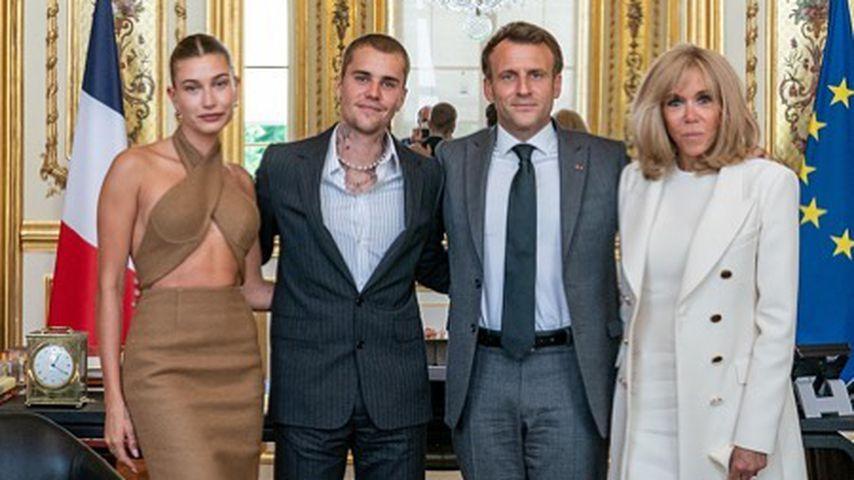 Hailey und Justin Bieber mit Emmanuel und Brigitte Macron