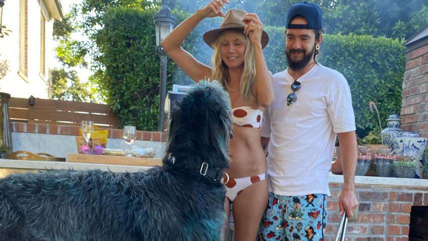 Heidi Klum, ihr Mann Tom Kaulitz und ihre beiden Hunde im September 2020