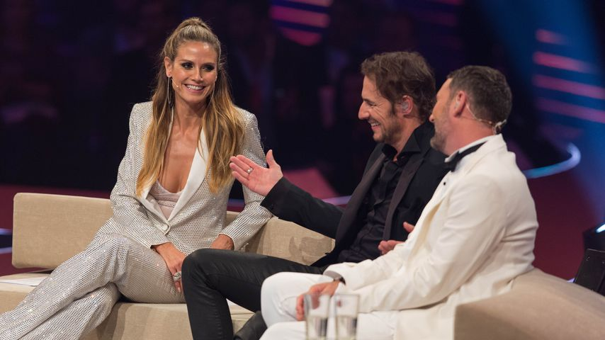Heidi Klum mit Thomas Hayo und Michael Michalsky im GNTM-Finale 2017