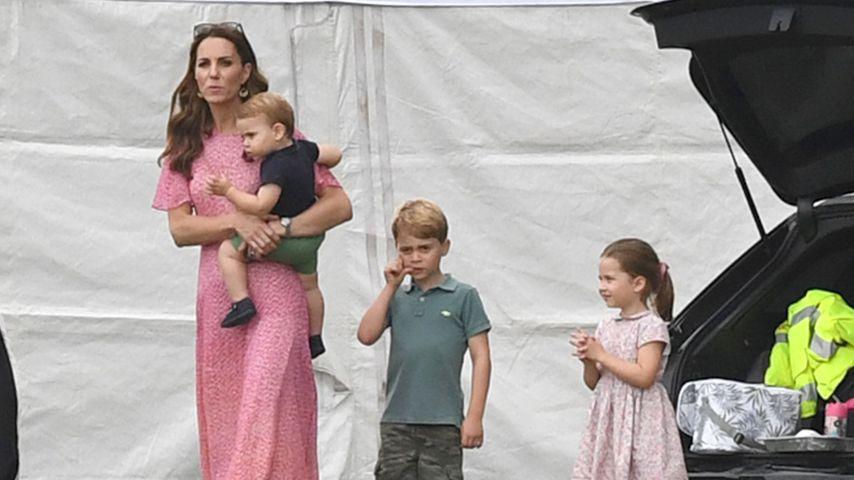Herzogin Kate, Prinz Louis, Prinz George und Prinzessin Charlotte im Juli 2019