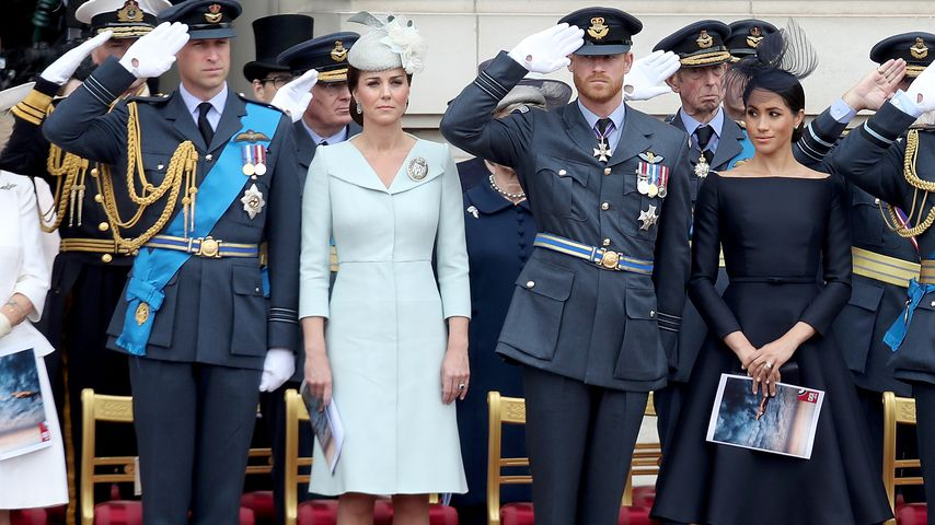 Prinz William, Herzogin Kate, Prinz Harry und Herzogin Meghan im Buckingham Palast 2018
