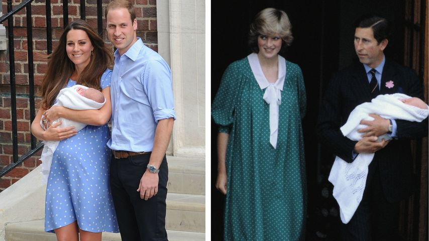 Kate und William mit Baby George 2013 & Diana und Charles mit Baby William 1982